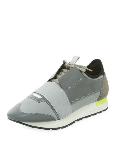 Men's Reflective Race Runner Mesh & Leather Sneaker, Gray