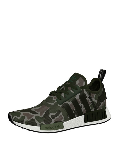 Adidas Men's NMD_R1 Camo Knit Trainer Sneaker, Green
