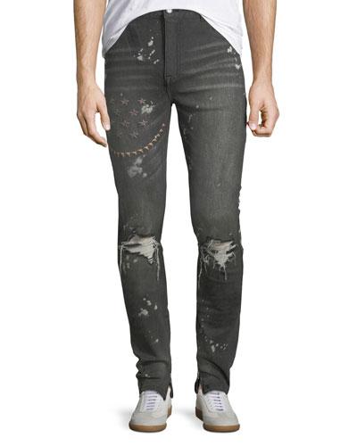 Particolari Star-Embroidered Slim-Straight Jeans