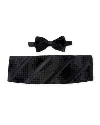 Diagonally-Pleated Cummerbund & Bow Tie Set