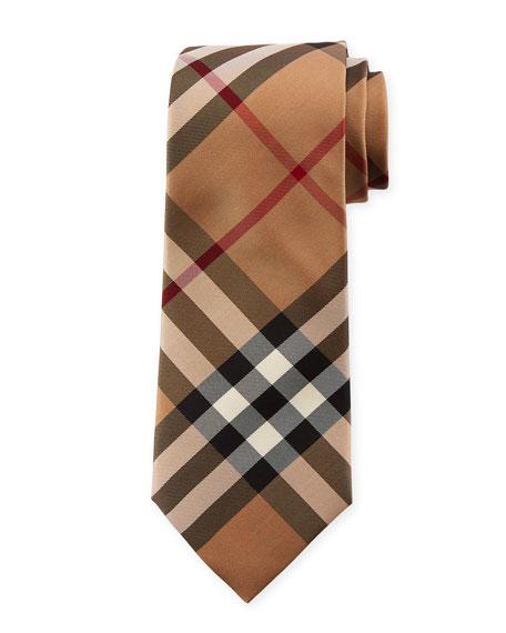 Manston Modern-Cut Check Silk Twill Tie, Camel