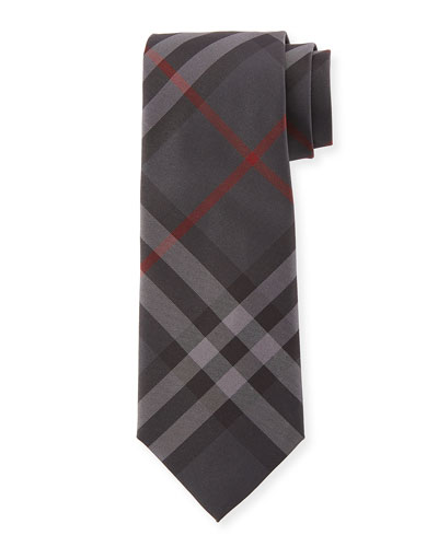 Manston Modern-Cut Check Silk Twill Tie, Charcoal