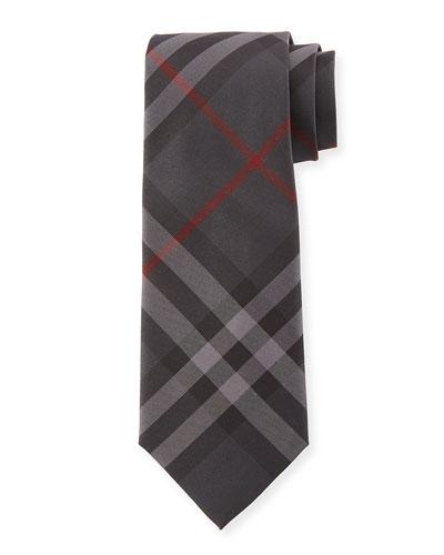 Manston Modern-Cut Check Silk Twill Tie, Charcoal