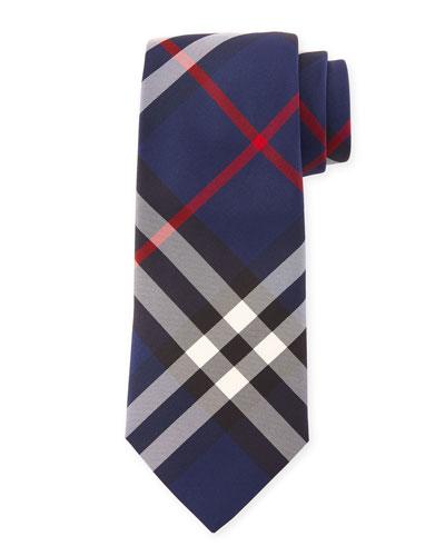 Manston Modern-Cut Check Silk Twill Tie, Navy