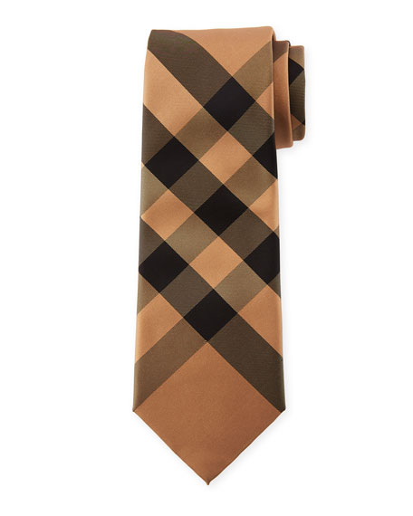 Burberry Manston Modern-Cut Check Silk Tie, Camel