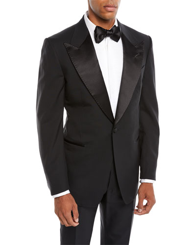 Men's Satin Peak-Lapel Two-Piece Tuxedo Suit