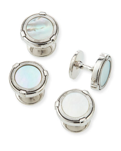 Latch Silver Shirt Studs with Mother-of-Pearl