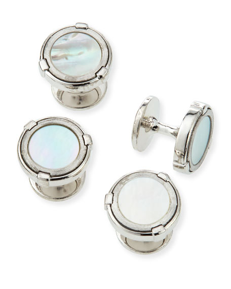 dunhill Latch Silver Shirt Studs with Mother-of-Pearl