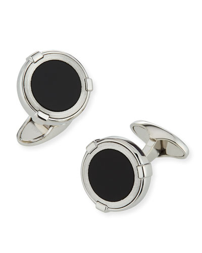 Latch Station Silver Cuff Links with Onyx