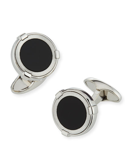 dunhill Latch Station Silver Cuff Links with Onyx