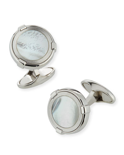 Latch Station Silver Cuff Links with Mother-of-Pearl