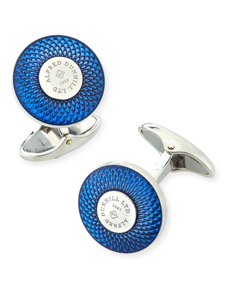 Engine Turned Silver Cuff Links with Enamel