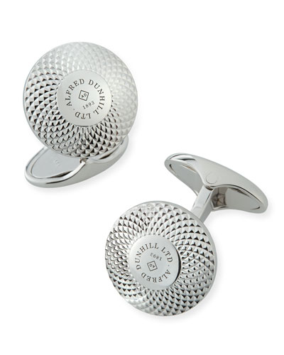 Engine-Turned Sterling Silver Disc Cuff Links