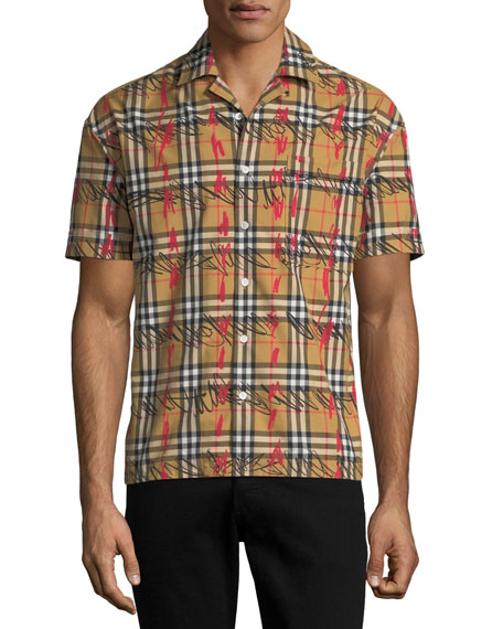 Burberry Men's Harley Scribble Check Short-Sleeve Sport Shirt