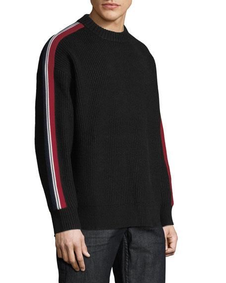 Men's Iowa Stripe-Sleeve Crewneck Sweater