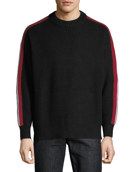 Burberry Men's Iowa Stripe-Sleeve Crewneck Sweater