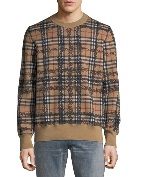 Burberry Men's Kern Scribble Check Sweatshirt