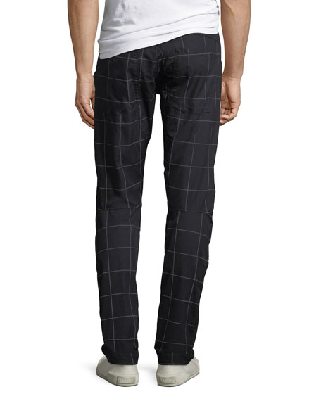 Men's 3D Tapered Grid-Print Pants