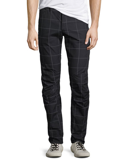 G-Star Men's 3D Tapered Grid-Print Pants