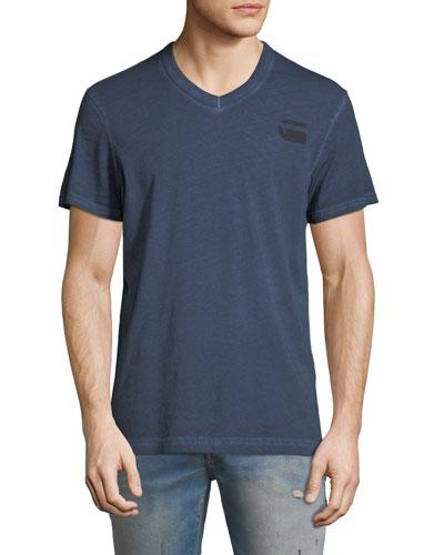 Doax V-Neck Heathered Jersey T-Shirt, Blue