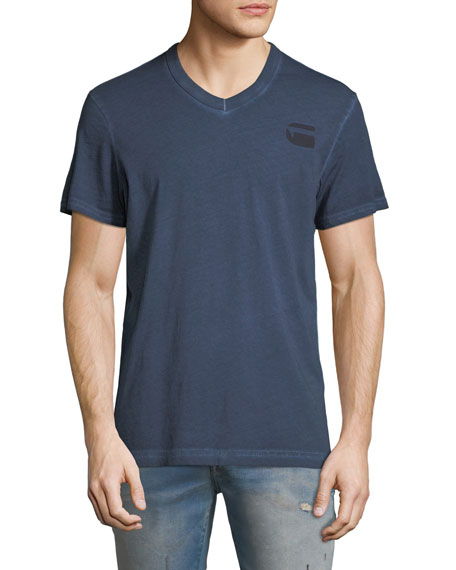 Doax V-Neck Heathered Jersey T-Shirt, Blue
