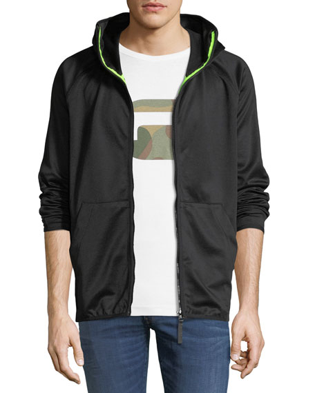 Strett Slim Zip-Front Hooded Sweatshirt