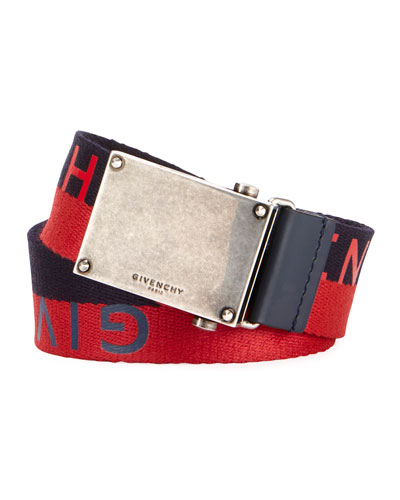 Men's Logo Webbed Plate Belt