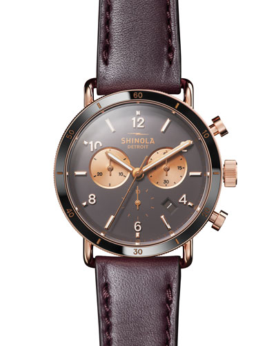 Men's 40mm Canfield Sport Chronograph Watch with Brown Leather Strap