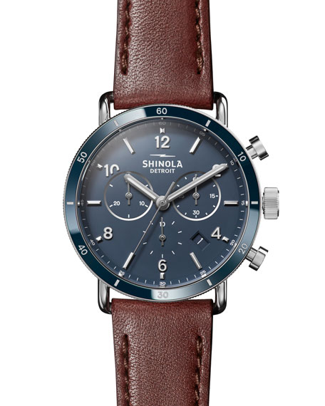 THE CANFIELD CHRONO LEATHER STRAP WATCH, 40MM