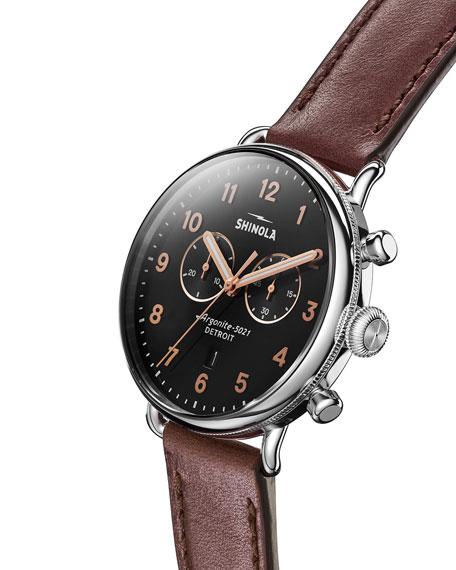 Shinola Men's 43mm Canfield Chronograph Watch with Brown Leather Strap