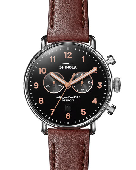 Shinola Men's 43mm Canfield Chronograph Watch with Brown