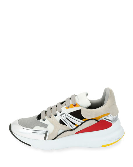 Men's Oversized Colorblock Runner Sneakers, White Pattern