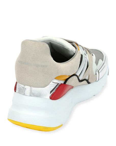 Men's Oversized Colorblock Runner Sneakers, White Pattern
