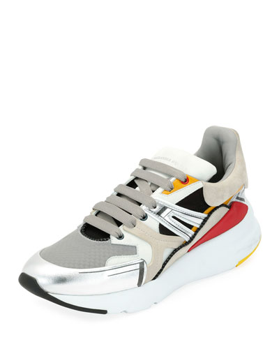 Men's Oversized Colorblock Runner Sneaker, White Pattern