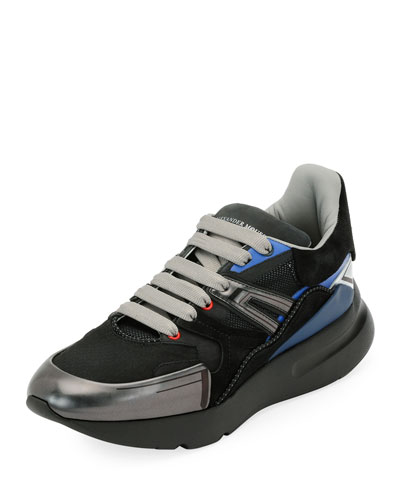 Men's Oversized Colorblock Runner Sneaker, Black Pattern