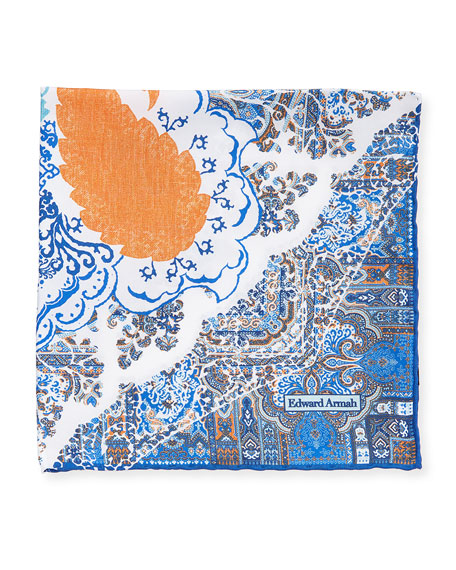 Edward Armah Large Floral-Paisley Pocket Square
