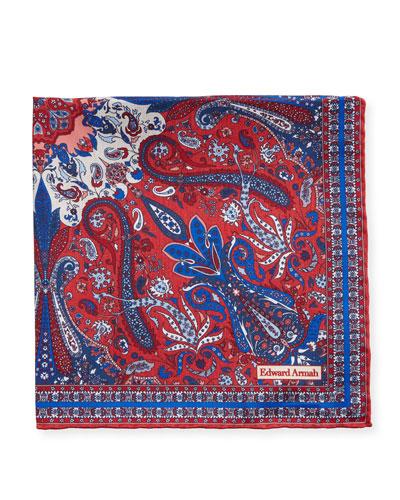 Men's Classic-Border Paisley Pocket Square, Red