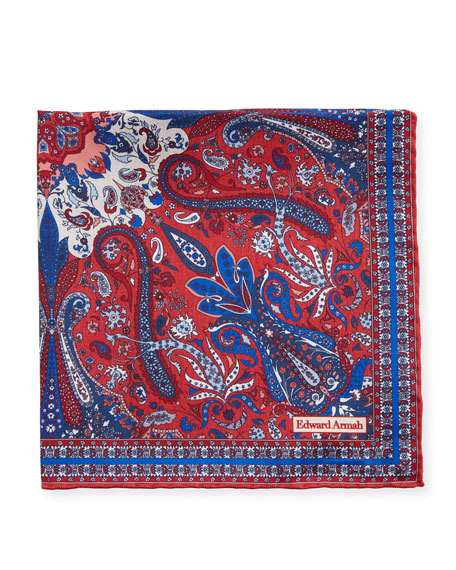 Edward Armah Men's Classic-Border Paisley Pocket Square, Red