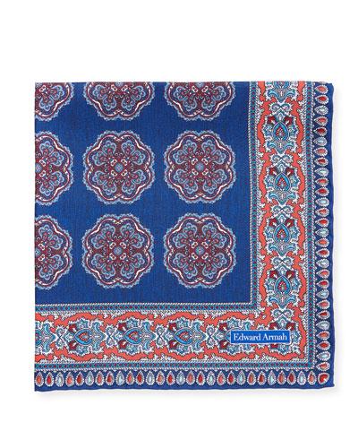 Oversize-Medallion Silk Pocket Square
