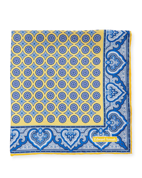Open Circle Medallion Pocket Square, Yellow
