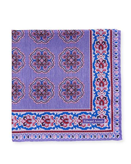 Edward Armah Oversize-Medallion Silk Pocket Square