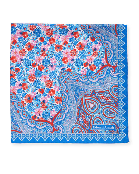 Edward Armah Paisley-Corner Floral Pocket Square, Blue