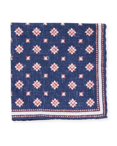 Medallion-Print Silk Pocket Square, Navy