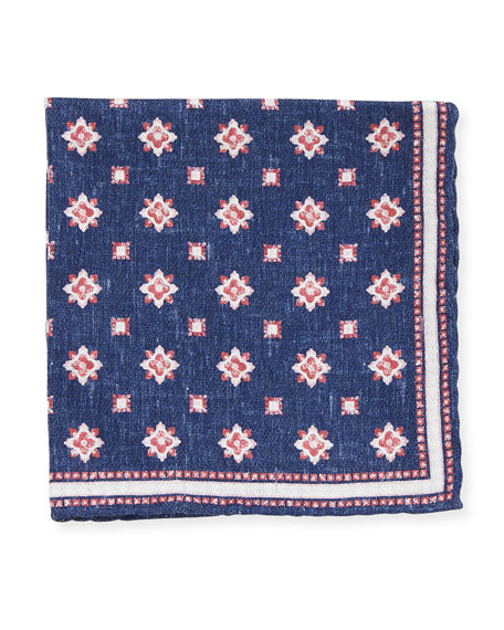Edward Armah Medallion-Print Silk Pocket Square, Navy
