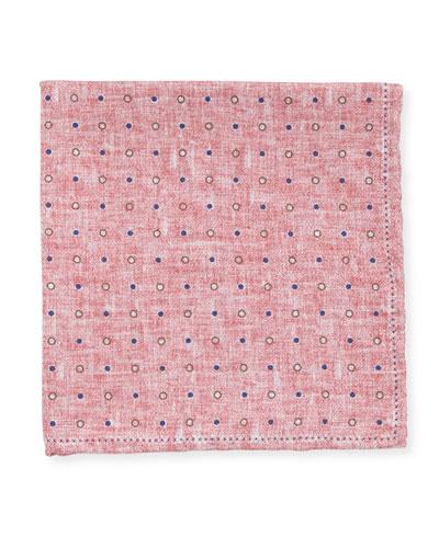 Dot Silk Pocket Square, Pink