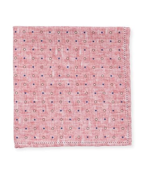 Edward Armah Dot Silk Pocket Square, Pink