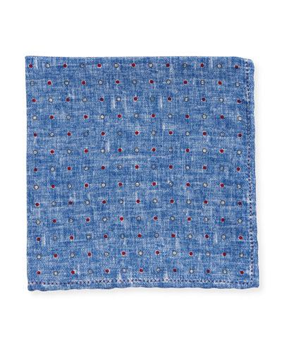 Dot Silk Pocket Square, Blue