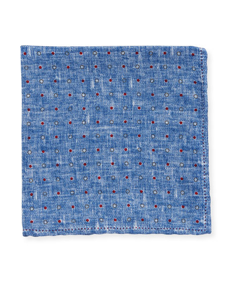 Edward Armah Dot Silk Pocket Square, Blue