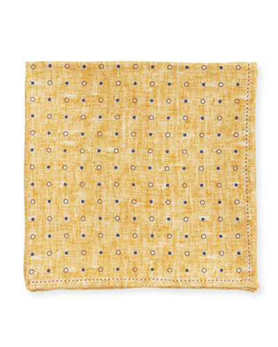 Dot Silk Pocket Square, Dark Yellow