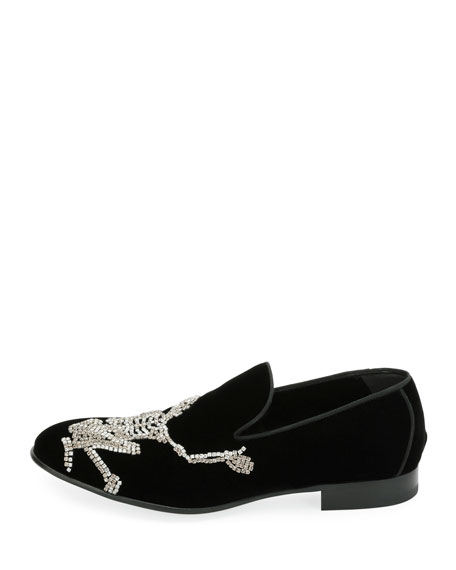 Men's Dancing Skeleton Velvet Formal Loafer
